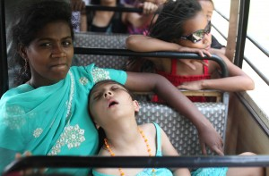 Gabby exhausted in India